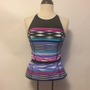 ZeroXposhur Tank Striped Swim Top Size 6